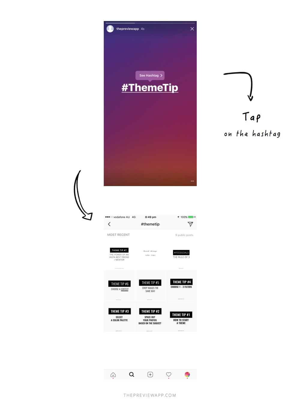 Insta story hashtags eraser face filters step by step tutorials tip if you are a business you can redirect your viewers to a specific branded hashtags for example i use themetip to show my people all my instagram ccuart
