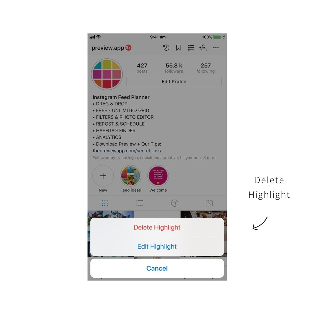 How to put insta stories under your instagram bio full tutorial 4 how to delete a highlight from your instagram page ccuart Gallery