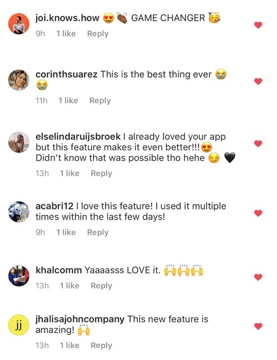 Instagram captions app: people's comments saying they love Preview App!