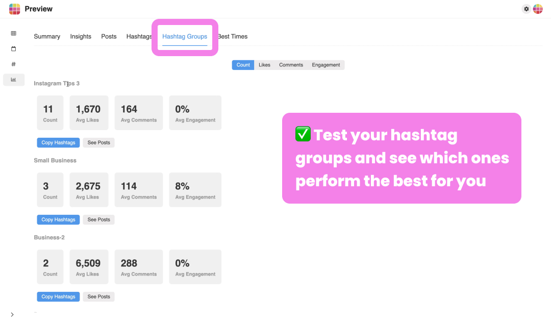 Instagram insights on Desktop: Hashtag Groups Analytics