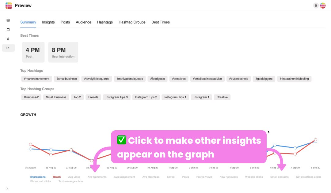 Instagram insights on Desktop: The Growth Graph