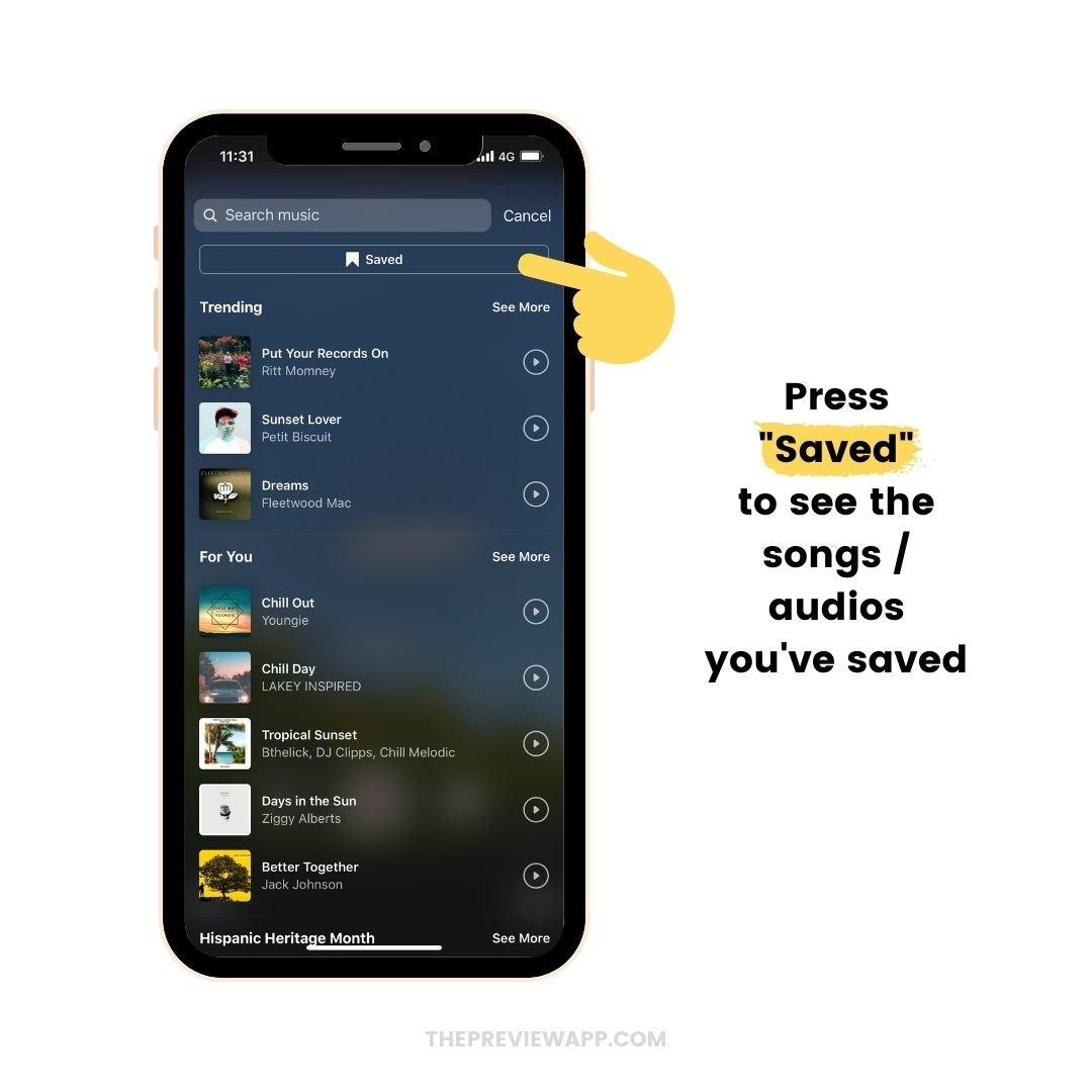 "How to use the ""Saved"" Music feature on Instagram Reels?"