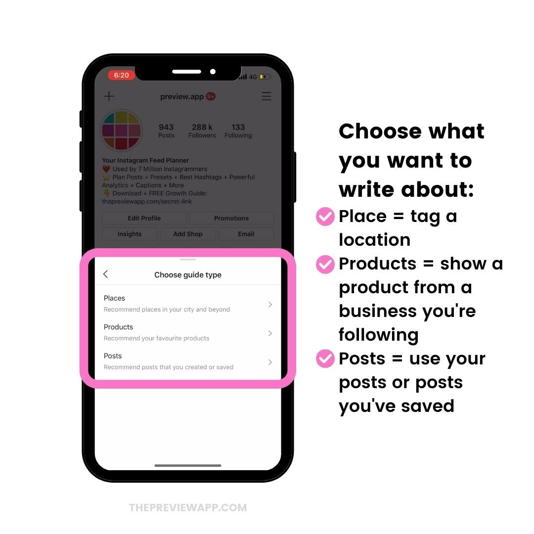 Choose what to post in your Instagram Guides