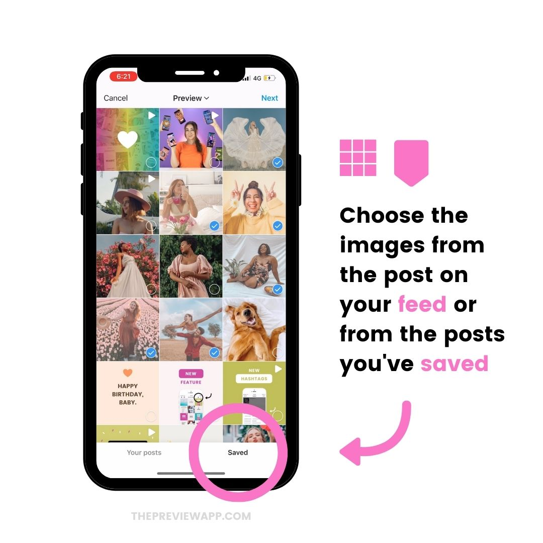 Instagram Guides post options: your posts or saved posts