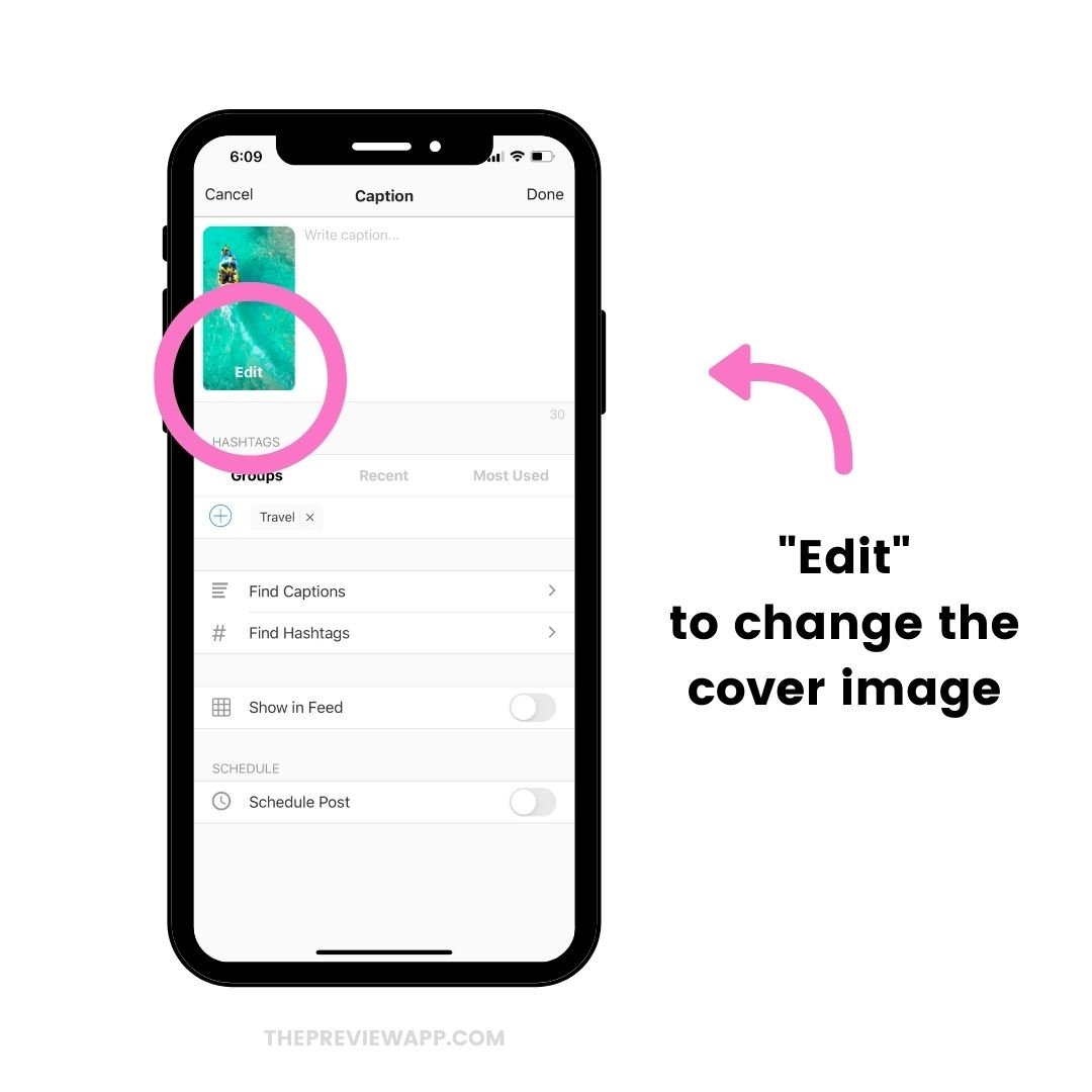 "Tap ""Edit"" to change the Reels cover image"