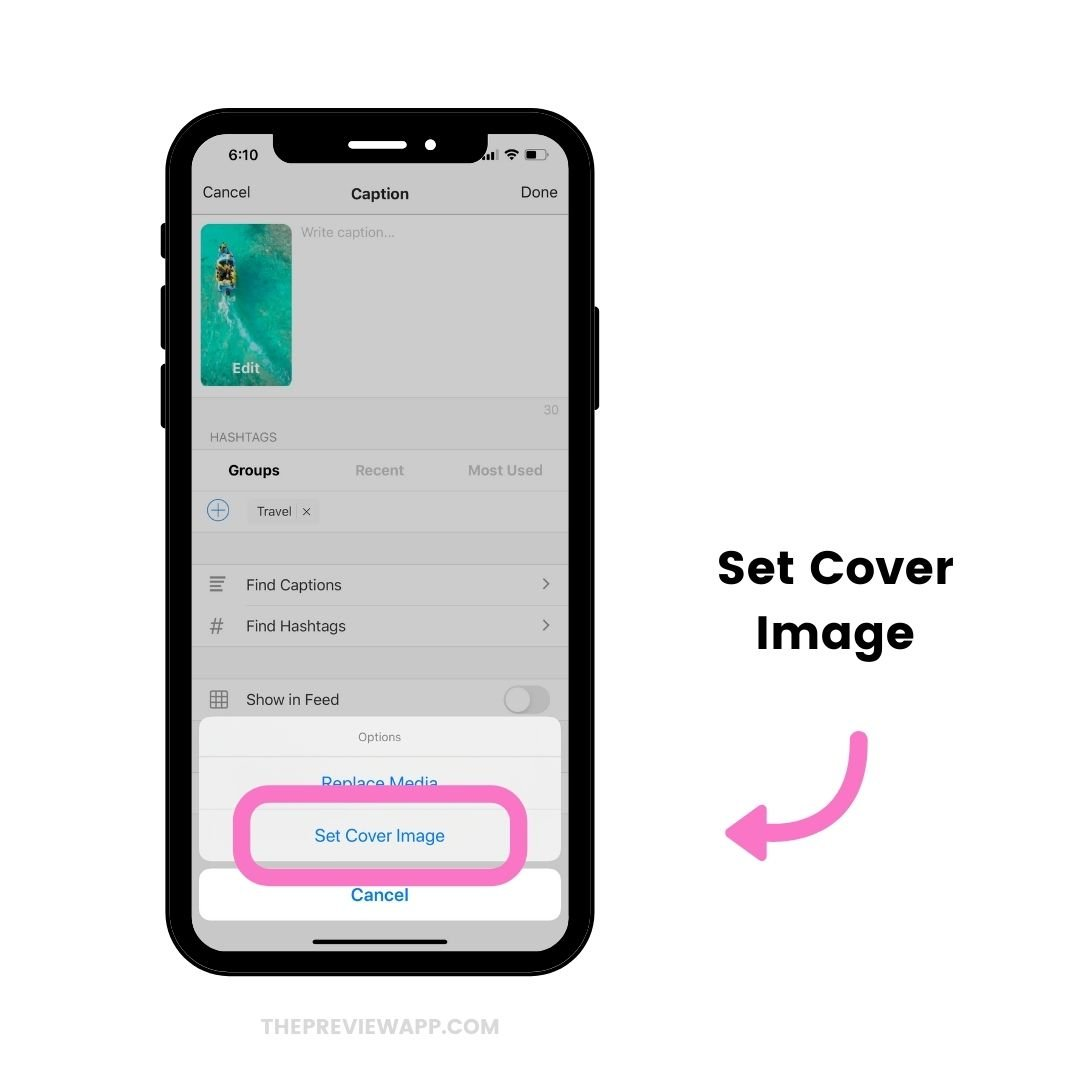 Set Instagram Reels Cover image in Preview App