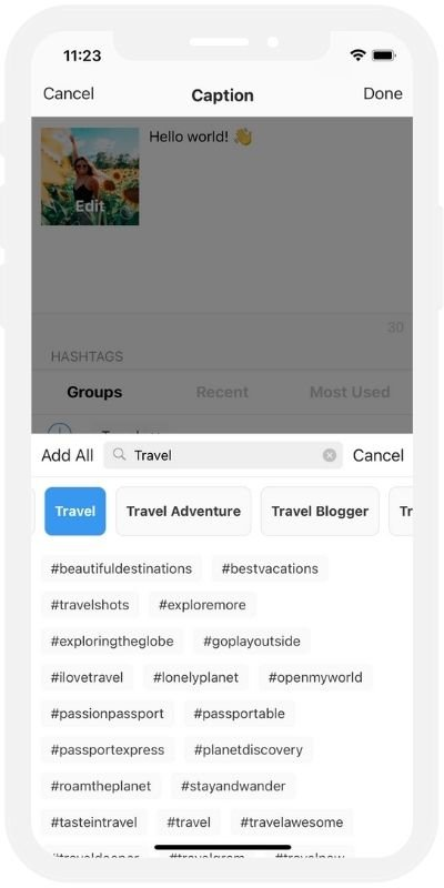 Instagram Feed Planner App: Preview and its Hashtag Finder