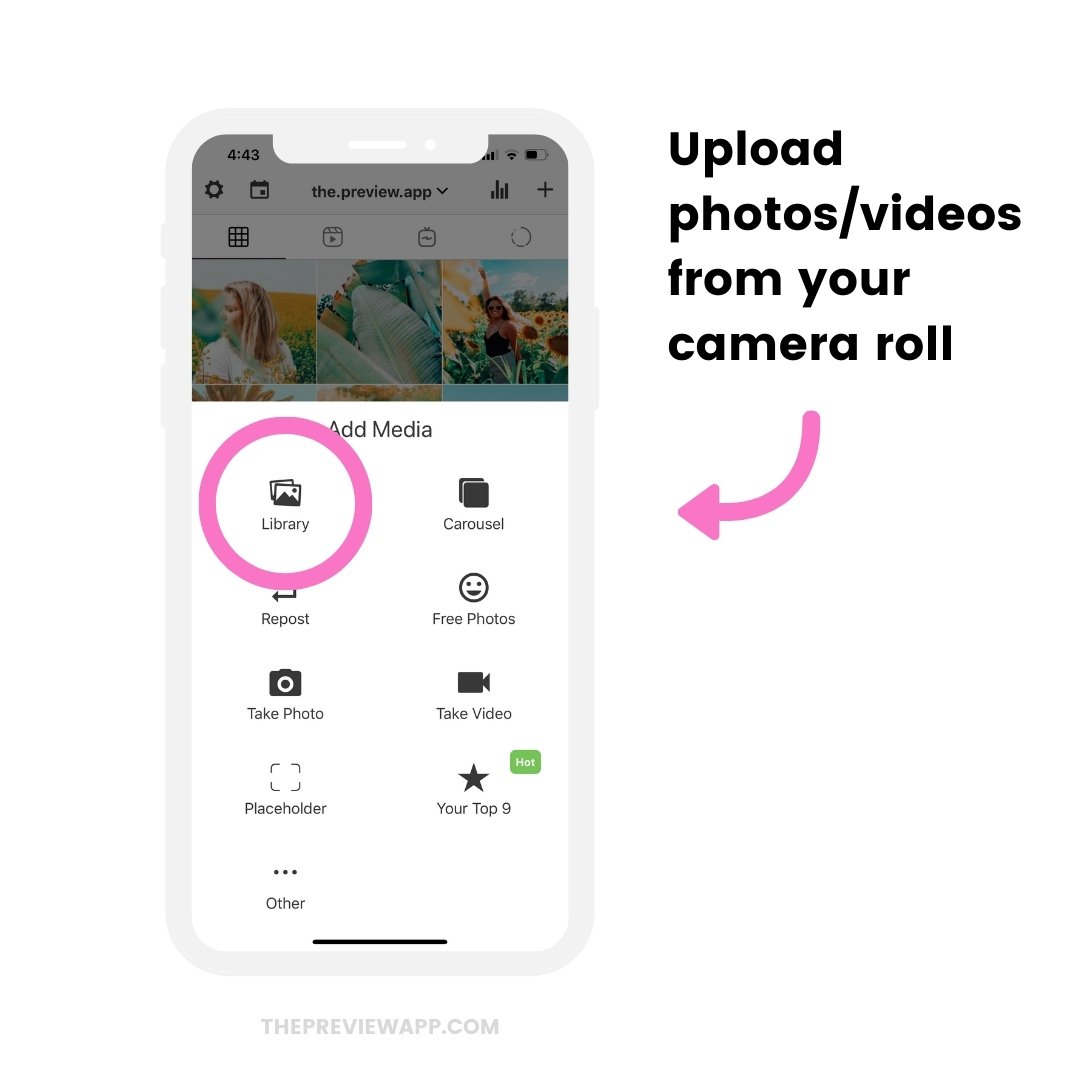 Library option to upload photos/videos to schedule automatically to Instagram