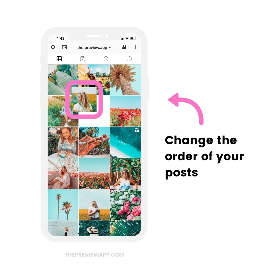Rearrange your posts to preview your feed before you schedule automatically