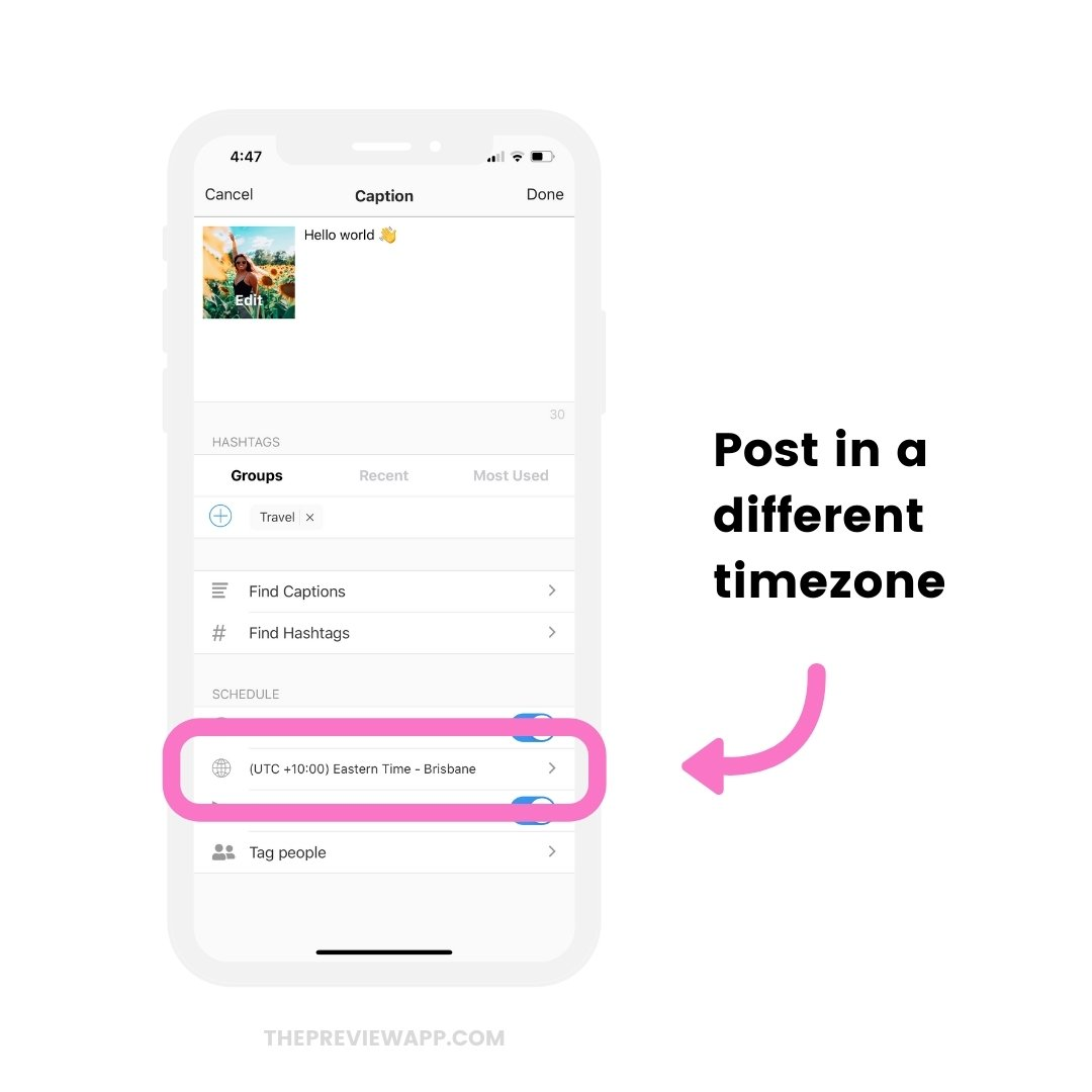 Timezone feature to automatically schedule Instagram posts for different countries and cities