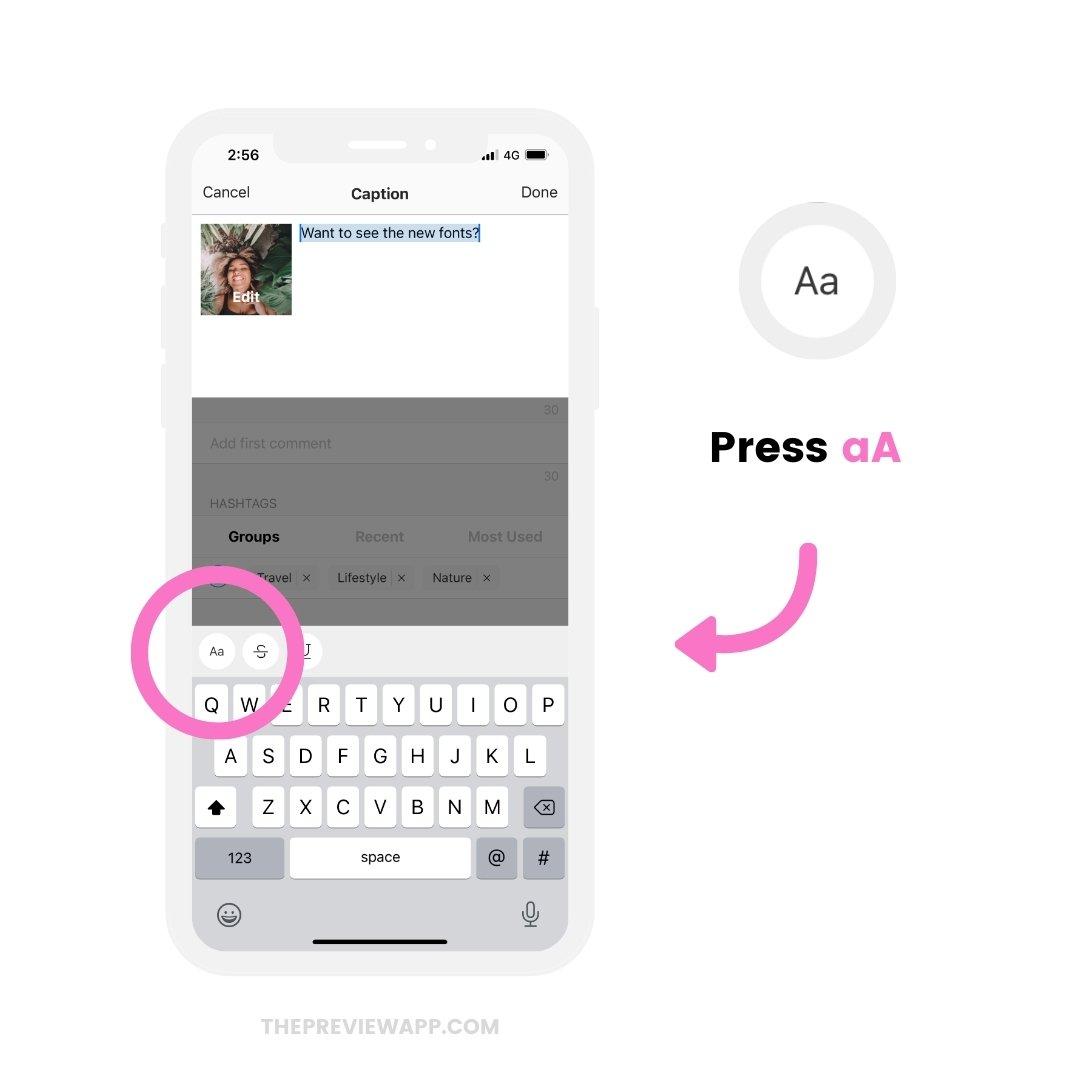 Instagram fonts generator app: Preview