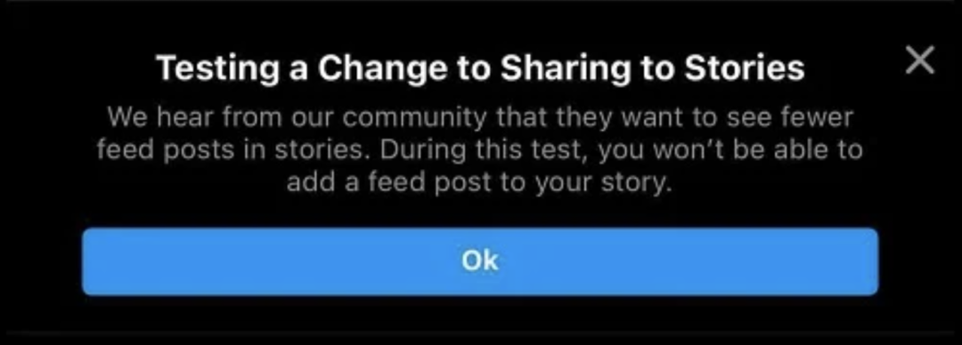 can't share post to story