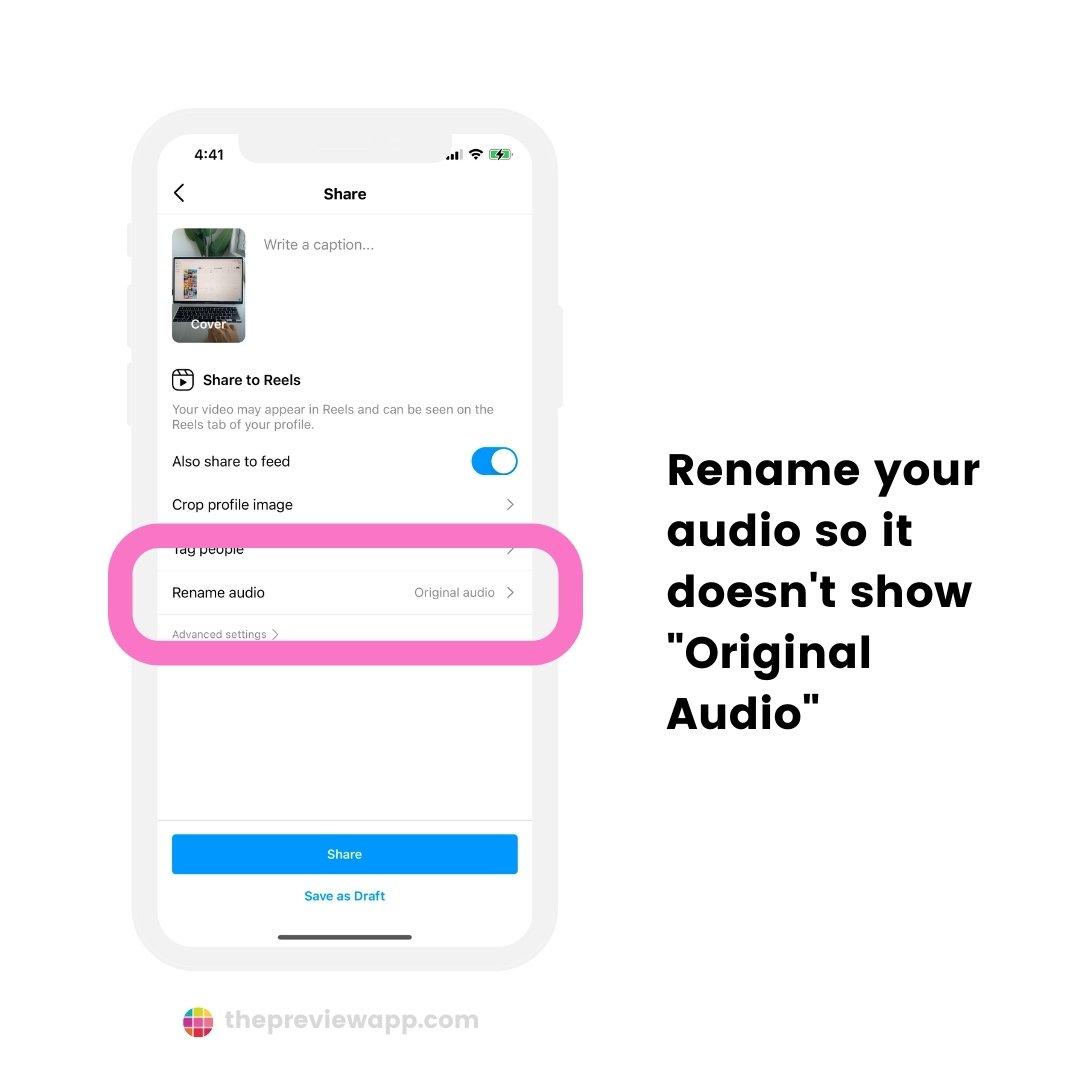 change original audio name